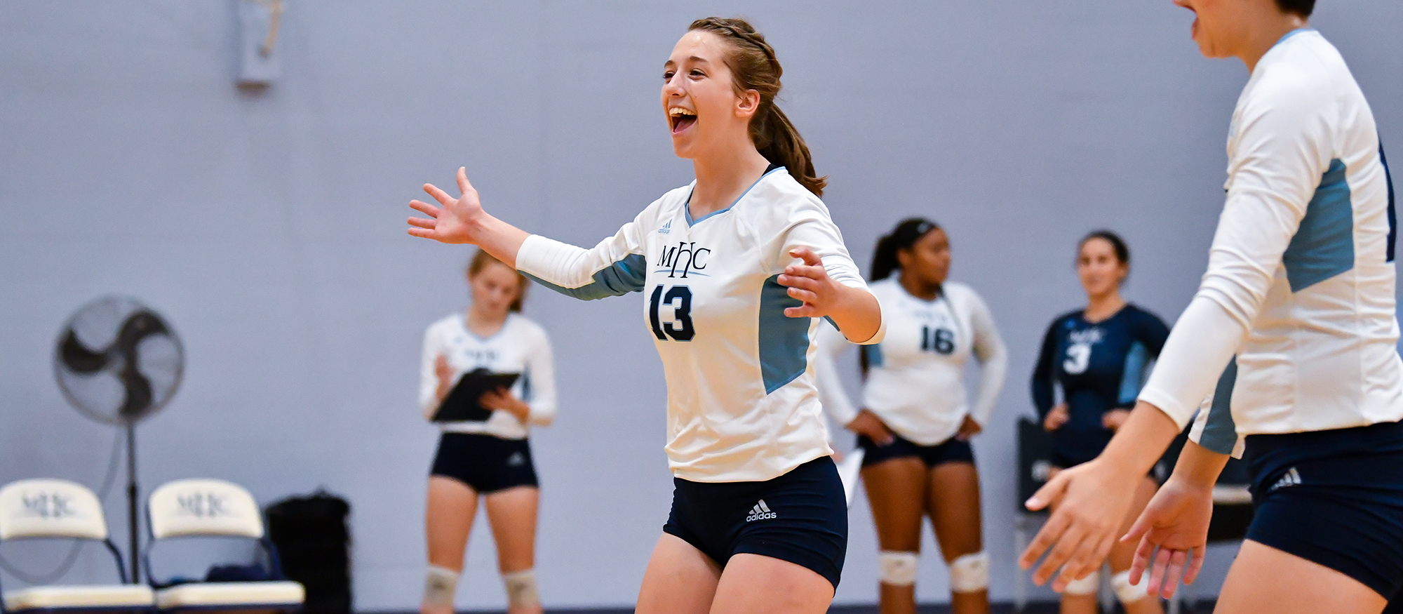 Bishop and Simon Lead Volleyball Past Husson; Lyons Fall to MIT in NEWMAC Play