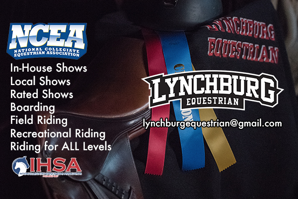 Lynchburg equestrian logo over colored prize ribbons. NCEA and IHSA logos. Text: In-house shows, local shows, rated shows, boarding, field riding, recreational riding, riding for all levels, lynchburgequestrian@gmail.com