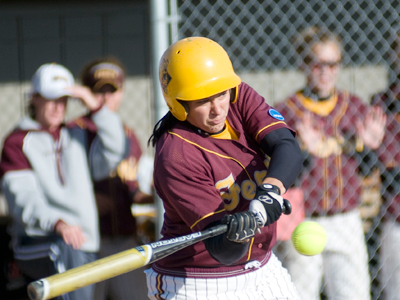 A challenging 46-game regular-season schedule awaits senior Rhea Flores and the 2010 Ferris State Softball Team. (Photo by Ed Hyde)