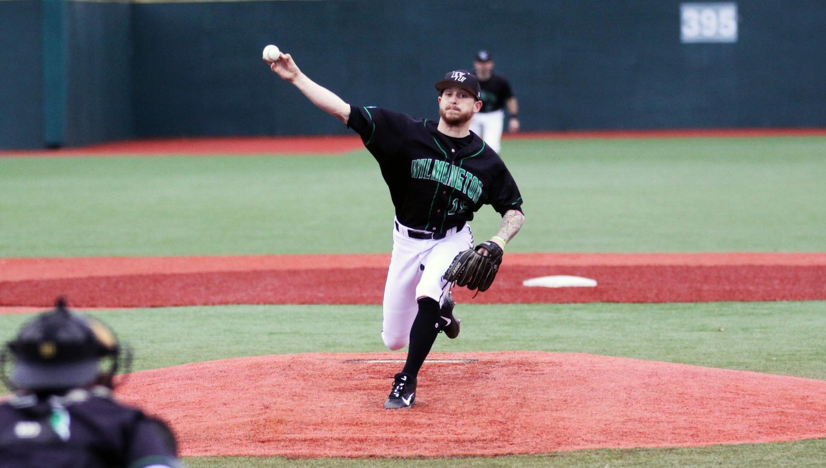 Copyright 2019; Wilmington University. All rights reserved. File photo of WilmU starter Noah Latshaw. Photo by Dan Lauletta. February 22, 2019 vs. New Haven at Myrtle Beach, S.C.