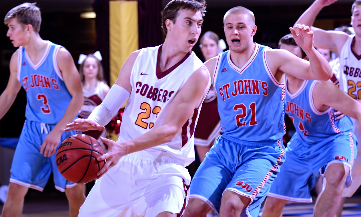 Senior Jordan Bolger scored 22 points and grabbed 16 rebounds to post his eighth double-double of the season in the Cobbers' loss at St. John's.