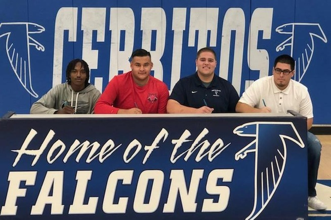 (L-R) Robert Corner, Ernesto Ramirez, Adam Tourville and Justin Gonzalez sign their National Letters of Intent