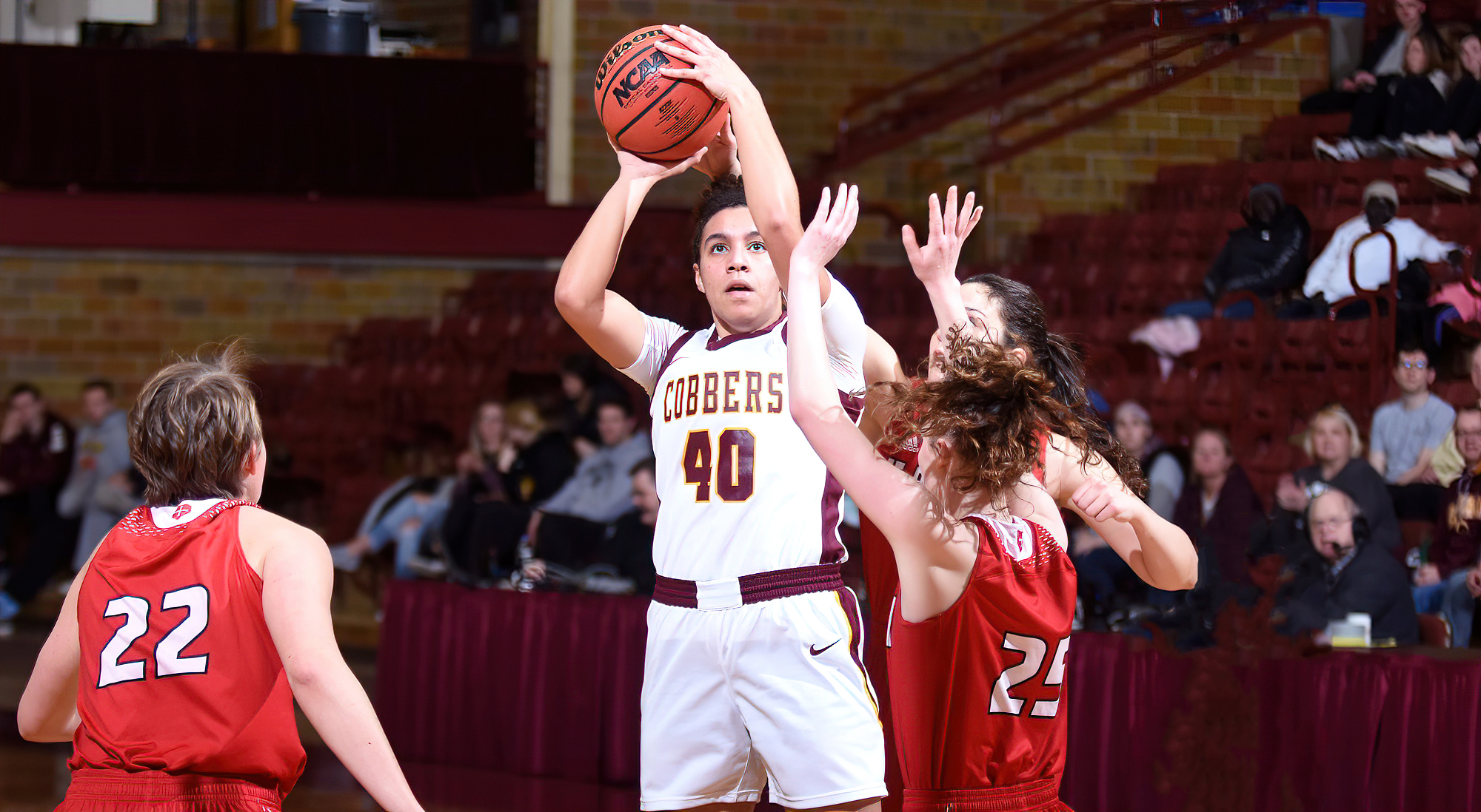 Sophomore Vanessa Kedl had a career-high 14 points in the Cobbers' season opener at St. Ben's. She was one of four CC players with at least 10 points in the game.