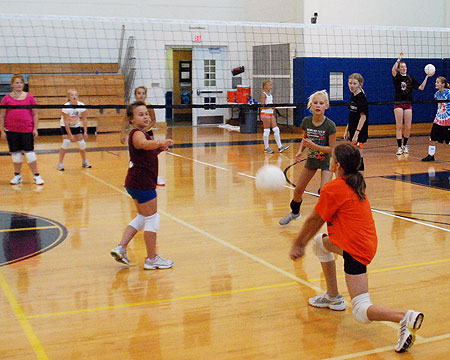 Younger volleyball campers get in the swing of things