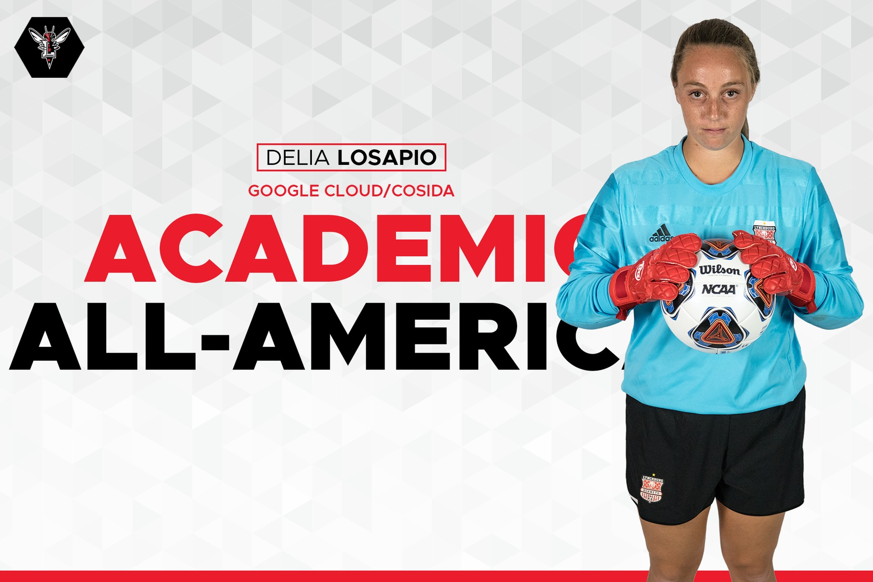 Image of Delia LoSapio holding a soccer ball. Text: Google Could/CoSIDA Academic All-America on White background.