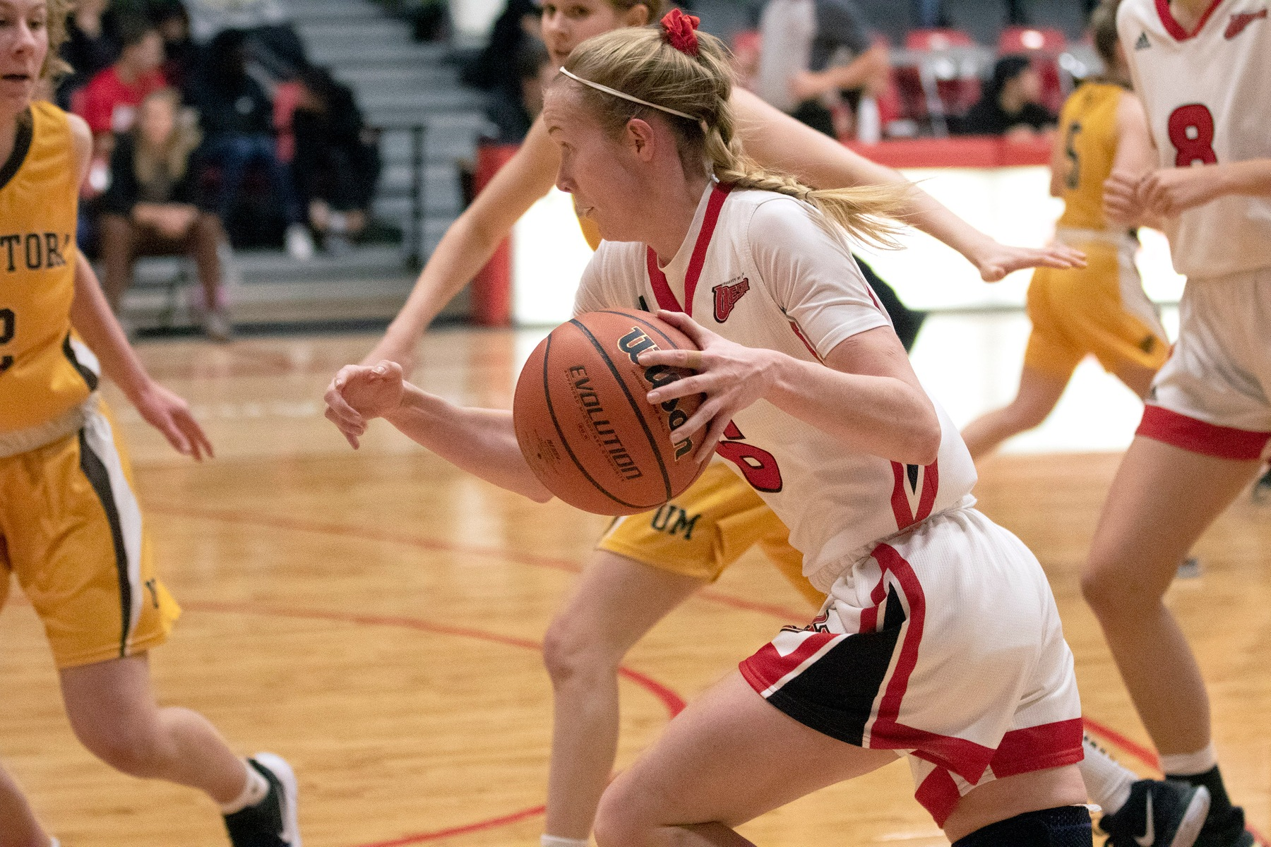 Lena Wenke pushes the ball down the floor during Wesmen women's basketball action against Manitoba on Saturday, November 23, 2019. (David Larkins/Wesmen Athletics)