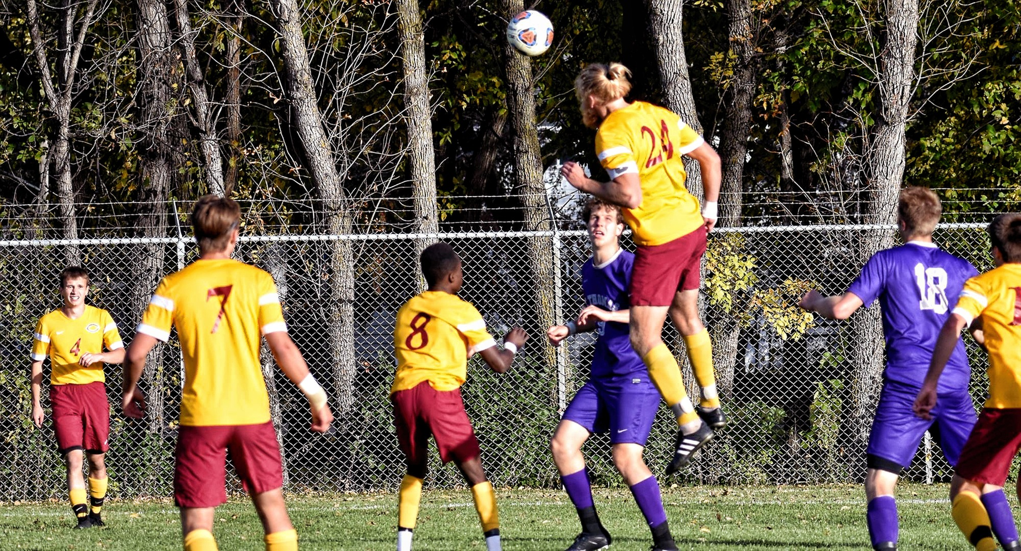 Junior Austin Peterson scored Concordia's lone goal on a header in the Cobbers' 1-1 2OT tie at St. Olaf.