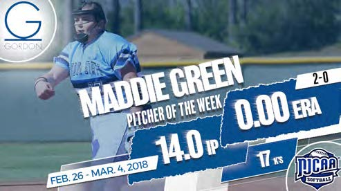 Green Named NJCAA National Pitcher of the Week