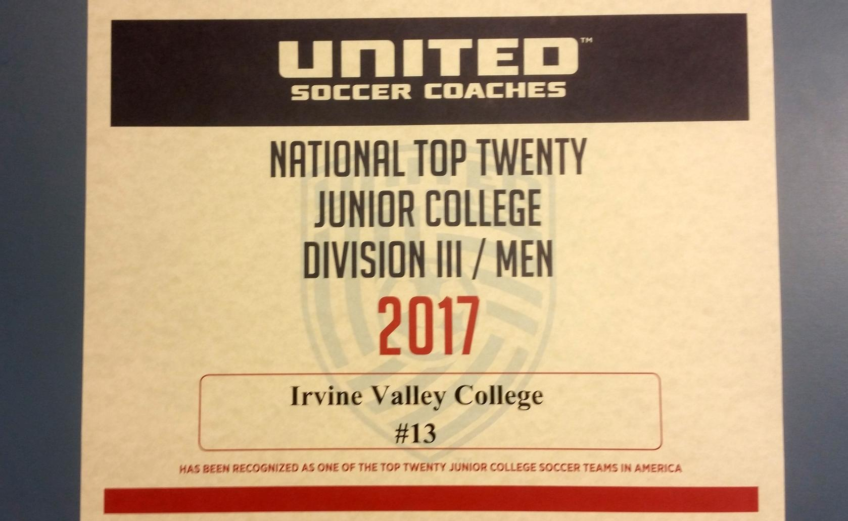 Men's soccer team ranked No. 13 in the nation in final poll