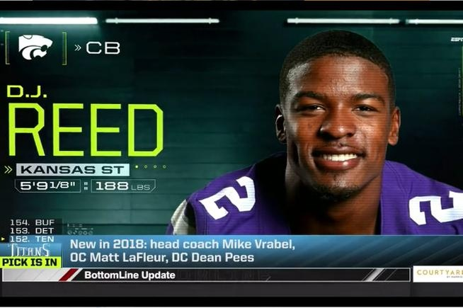 D.J. Reed was selected in the 5th Round by the San Francisco 49'ers