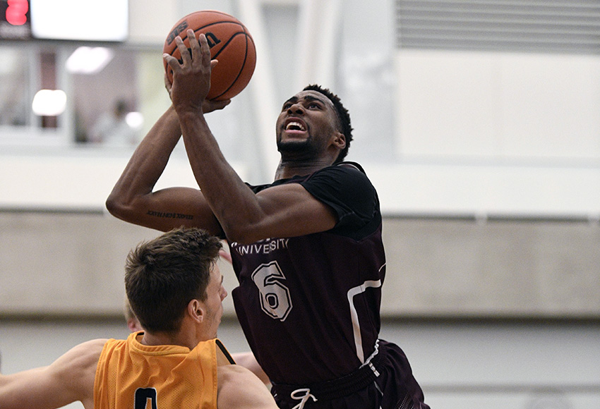 Denzel James, who wrapped up his five-year MacEwan basketball career last season as the Griffins' all-time career leading scorer, has signed a professional contract to play in the National Basketball League (Chris Piggott photo).