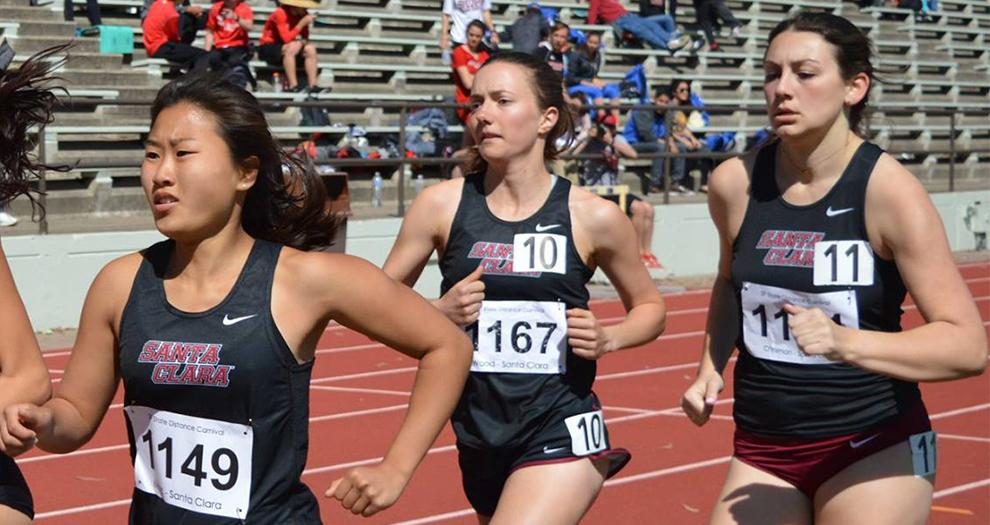 Greer Chrisman (far right) made it two 400m hurdles victories in her last two races on Saturday.