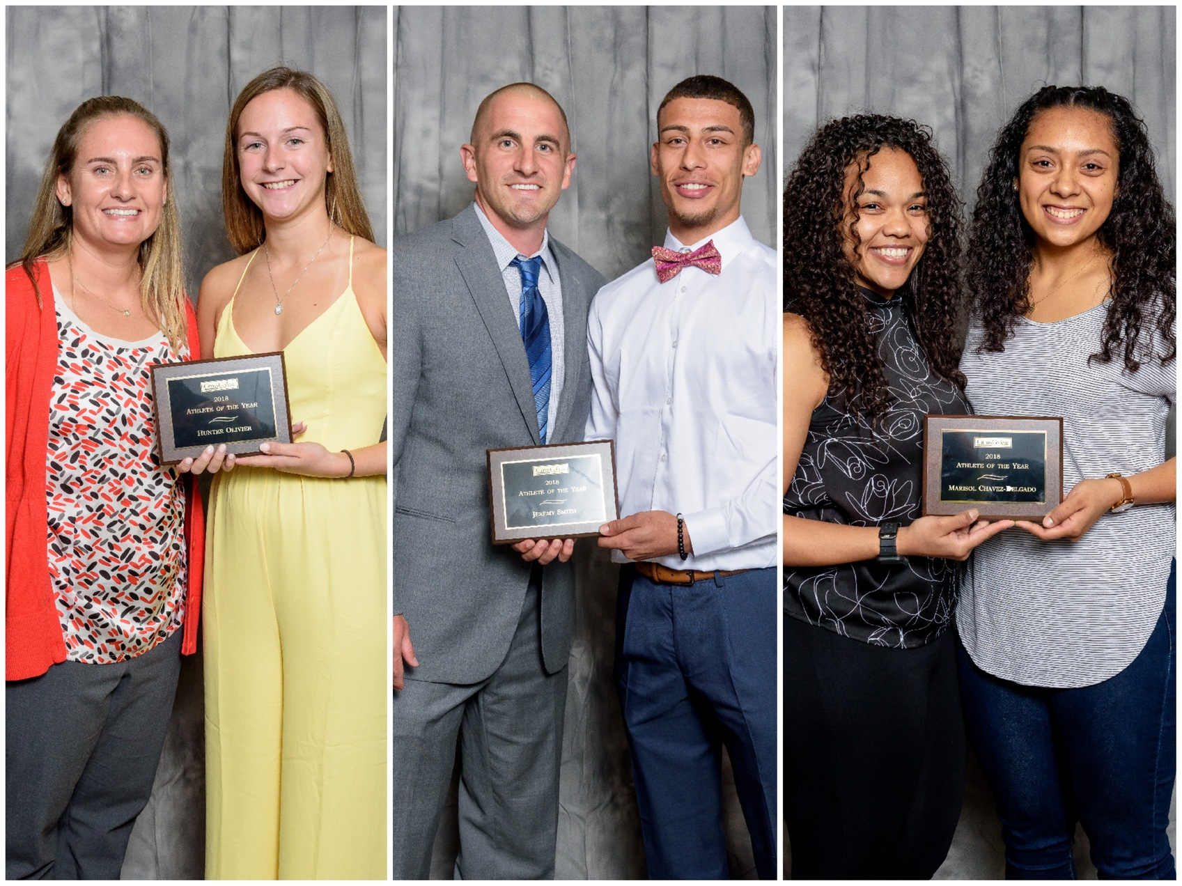 Pictured: 2017-2018 Citrus College Male and Female Student Athletes of the Year and their coaches. 
