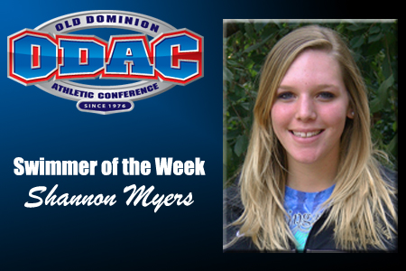 Myers Earns ODAC Swimmer of the Week Honor