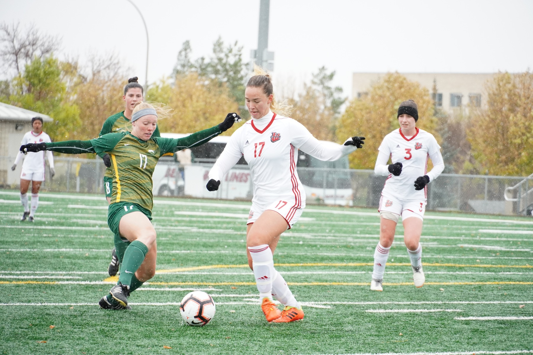 Winnipeg's Nicole Redekopp (17) challenges for the ball during Wesmen women's soccer action in Regina on Sunday, Sept. 29, 2019. (Regina Cougars photo)