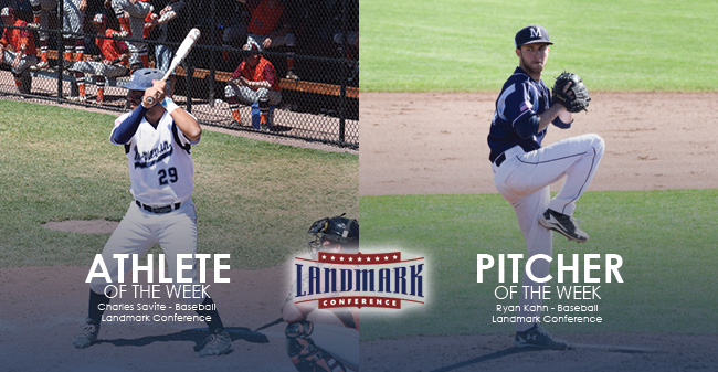 Savite & Kahn Honored as Landmark Conference Baseball Athlete & Pitcher of the Week