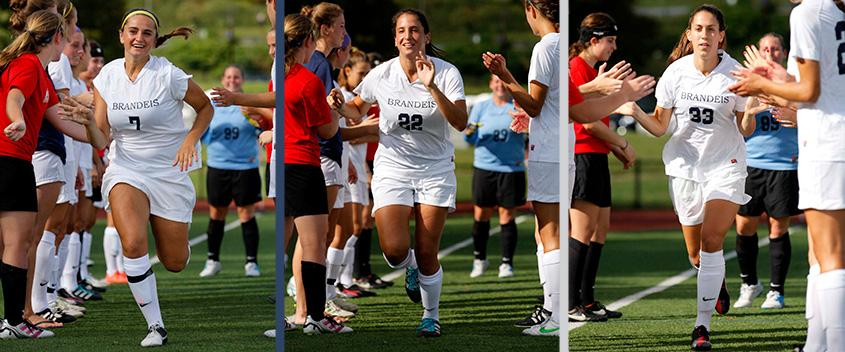 Holly Szafran '16, Sapir Edalati '15 and Dara Spital '15 all had four points in a win over Babson (photos courtesy Sportspix.biz)