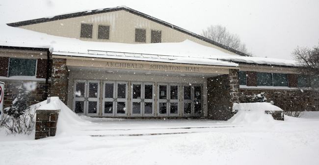 Snow covered entrance to Johnston Hall