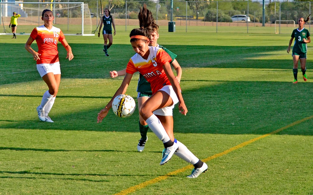 Alexis Hernandez scored two goals as the Aztecs women's soccer team held on to beat Cochise College 2-1 in Douglas. The Aztecs are now 9-4-1 on the season. Hernandez has 15 goals on the year. Photo by Ben Carbajal.