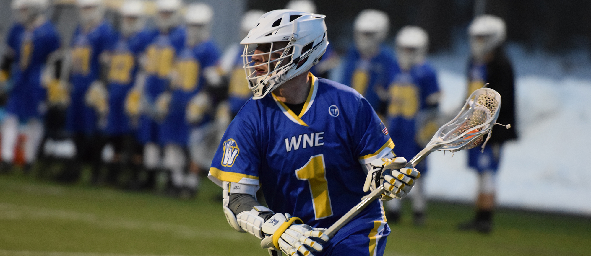 Senior Mikey Wood produced five points in Western New England's 14-13, double-overtime loss to Bates on Wednesday night. (Photo by Rachael Margossian)