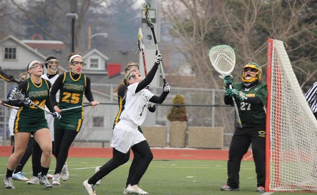 Senior Taylor Smith scored five goals, won 12 draw controls and added 9 groundballs as Keuka's women's lacrosse team defeated Kalamazoo College 17-2 Saturday (photo courtesy of Carly Volante, Keuka College Sports Information Department).