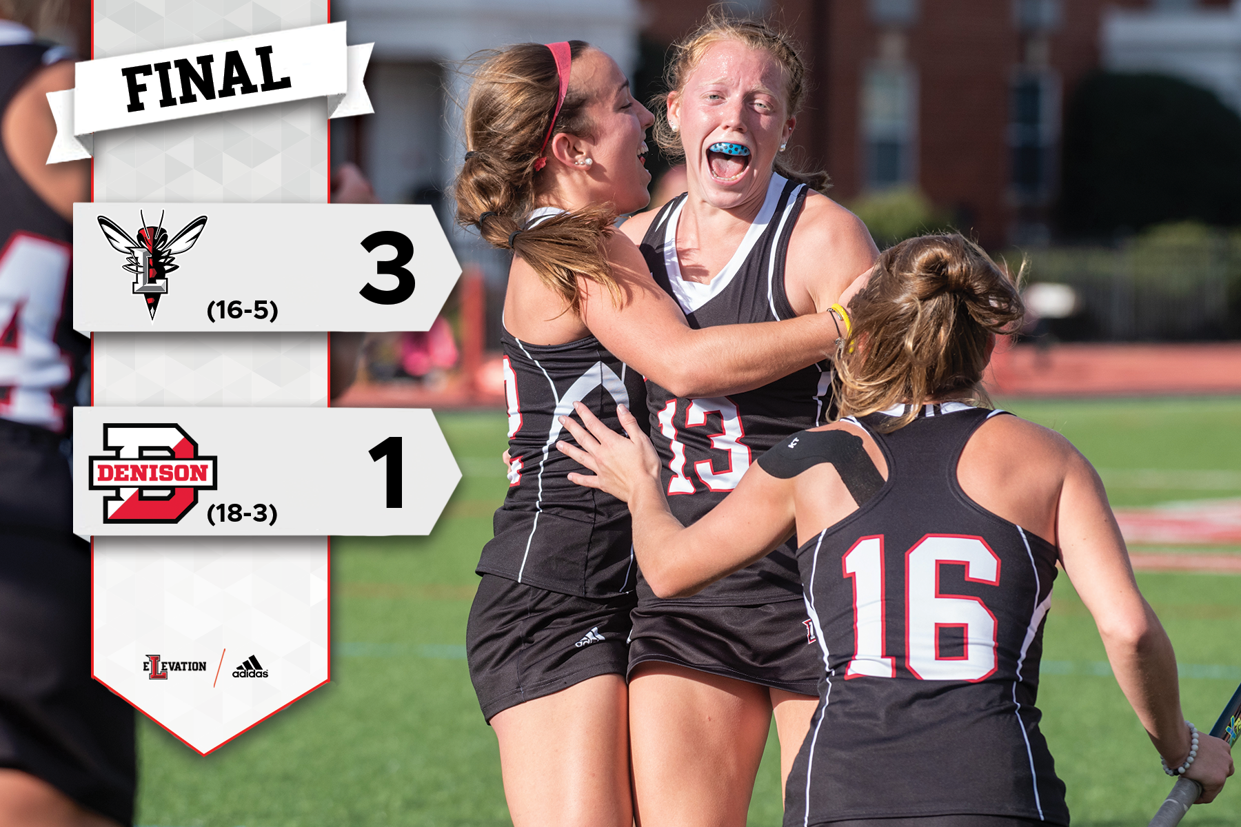 Field hockey players celebrate a goal. Graphic showing 3-1 final score and team logos.