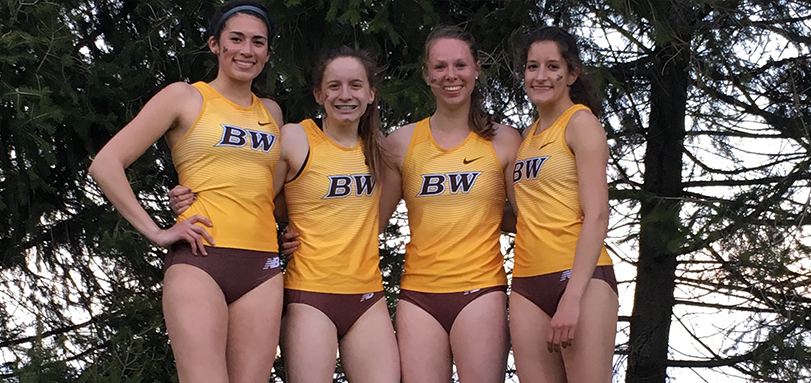 The OAC Champion 4x800 team of Rebecca Penrose, Kelly Brennan, Katie Fowler and Madison Kile