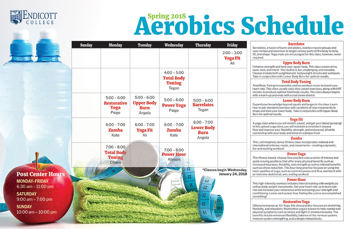 Graphic of Aerobics Schedule