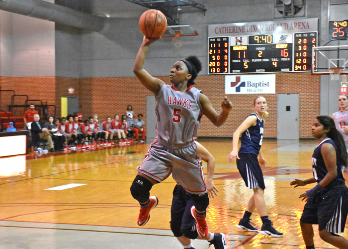 Freshman Maia Hill scored a season-high 17 points and was one of four Lady Hawks to score in double figures in Sunday's 64-60 win over Oglethorpe. (Photo by Wesley Lyle)