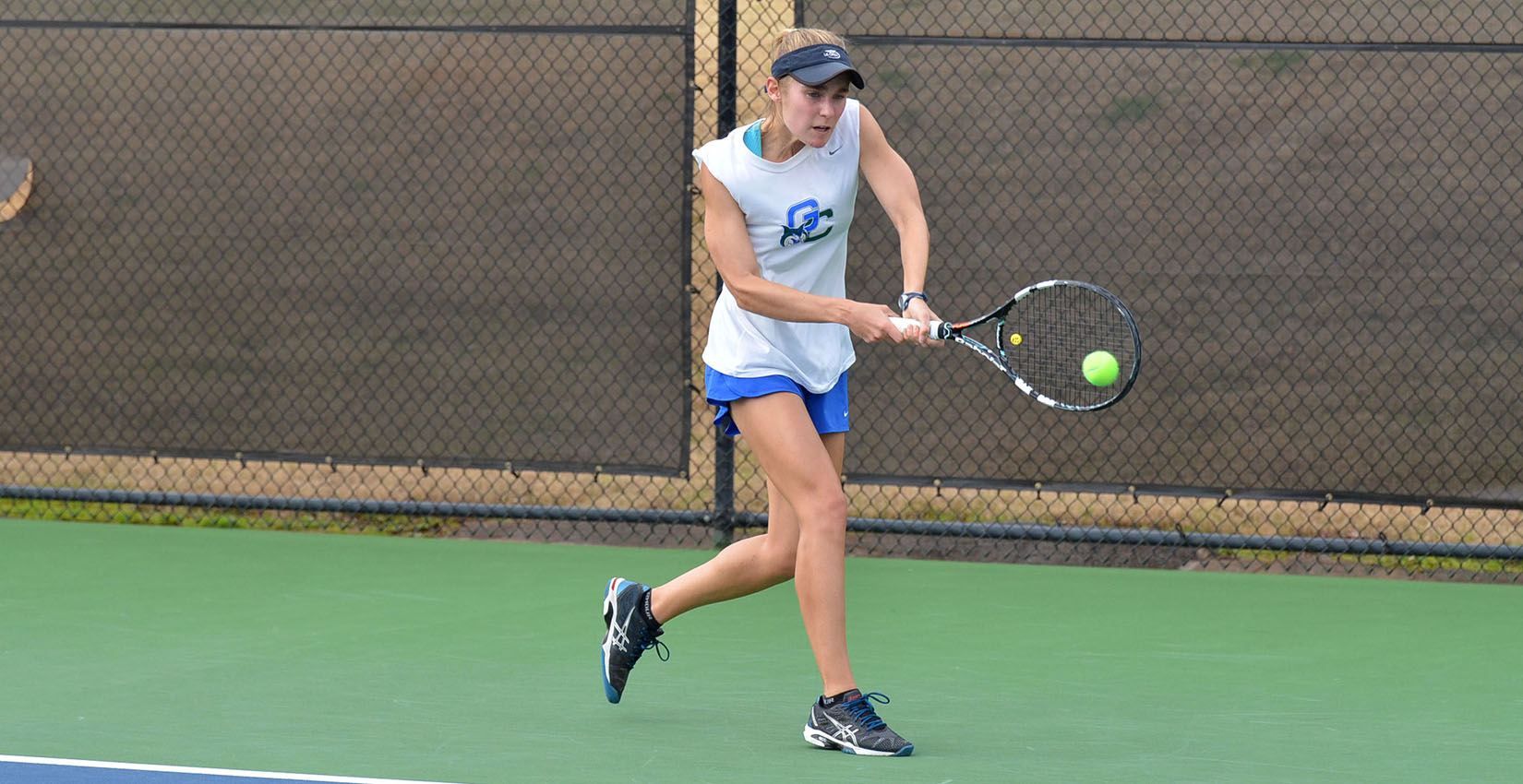 Jena Kelly got a big win for the Bobcats in both singles and doubles Sunday.
