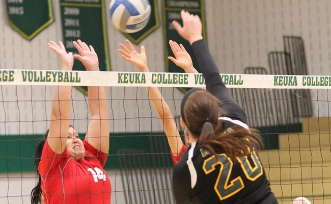 Lauren Moelbert (20) with the attack for Keuka College on Friday -- Photo by Ed Webber