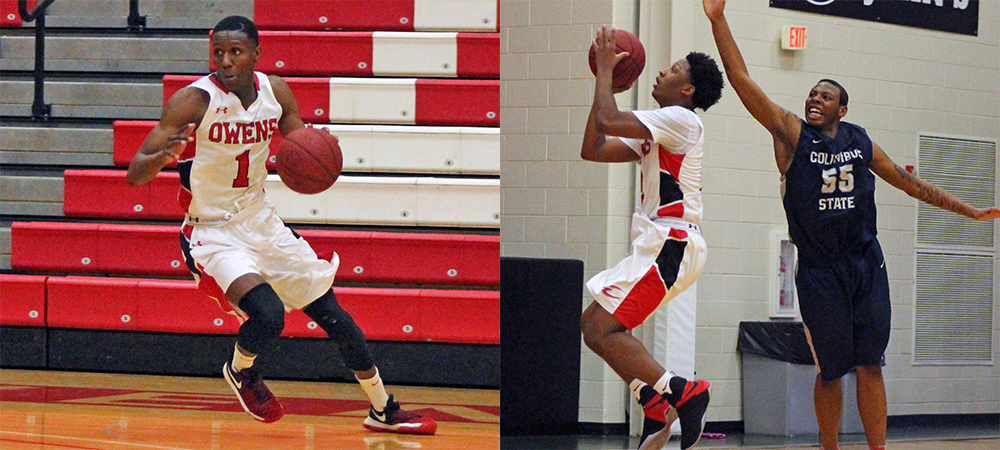 Derrik Jamerson Jr. (left) and Roy Hatchett Jr. (right) combined for 48 points in today's loss to Columbus State. Photos by Nicholas Huenefeld/Owens Sports Information