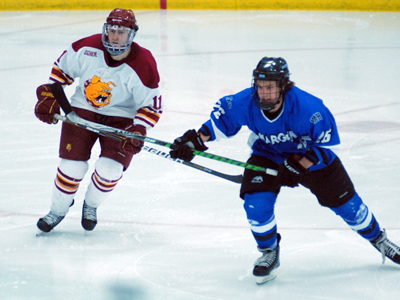 Jordie Johnston netted one of Ferris State's goals in Saturday's 5-1 series finale decision over Alabama-Huntsville.  (Photo by Joe Gorby/FSU Athletics Communications)