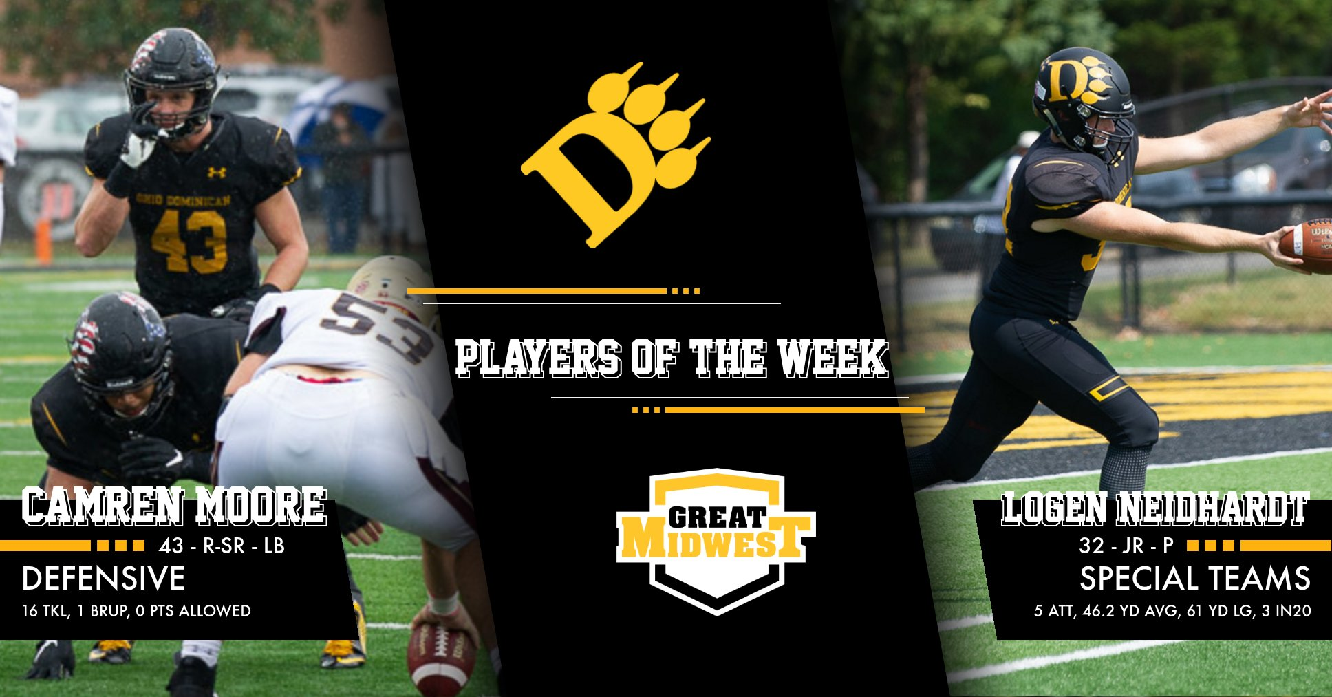 Moore, Neidhardt Named G-MAC Defensive and Special Teams Players of the Week