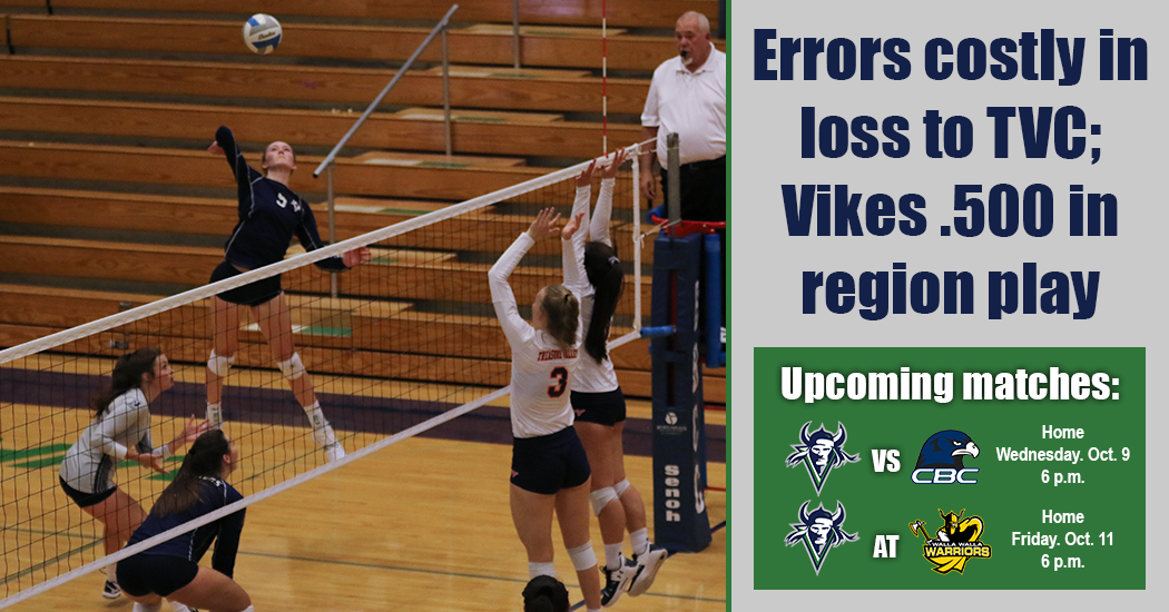 Vikings volleyball team loses to Treasure Valley, 3-1.