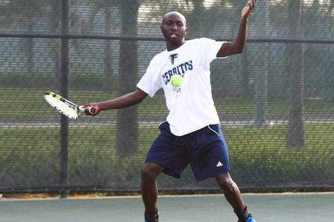 Amadi Kagoma won his singles and doubles match in the Falcons loss to Irvine Valley