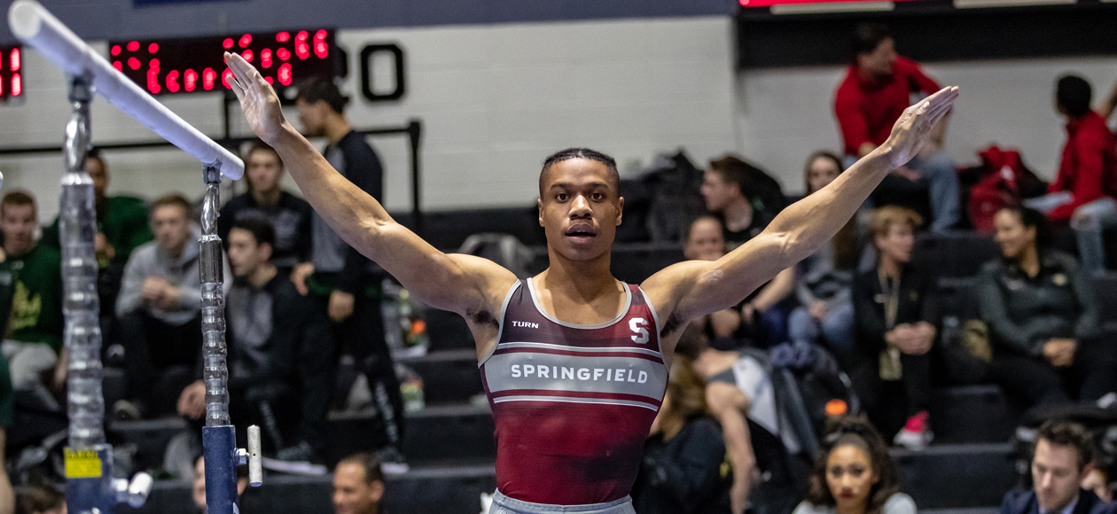 Lewis Claims All-Around Title As Men's Gymnastics Finishes Third at Navy Open