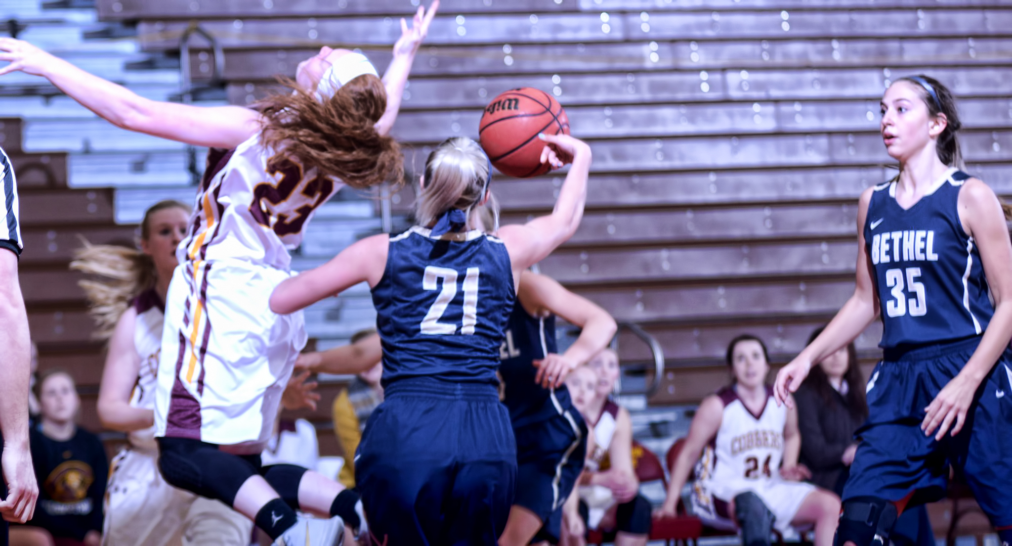 Freshman Rachel Hoernemann goes for a rebound in the second half of the Cobbers' game against Bethel. She had a career-high seven points.