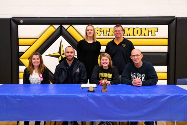 (L to R) Erin Rosburg, coach Mulder, Starmont ass't cross country coach Jenni Schauf, Bianca Malone, Starmont cross country head coach Charlie Gruman, and Starmont girls track and field head coach Roger Reed.