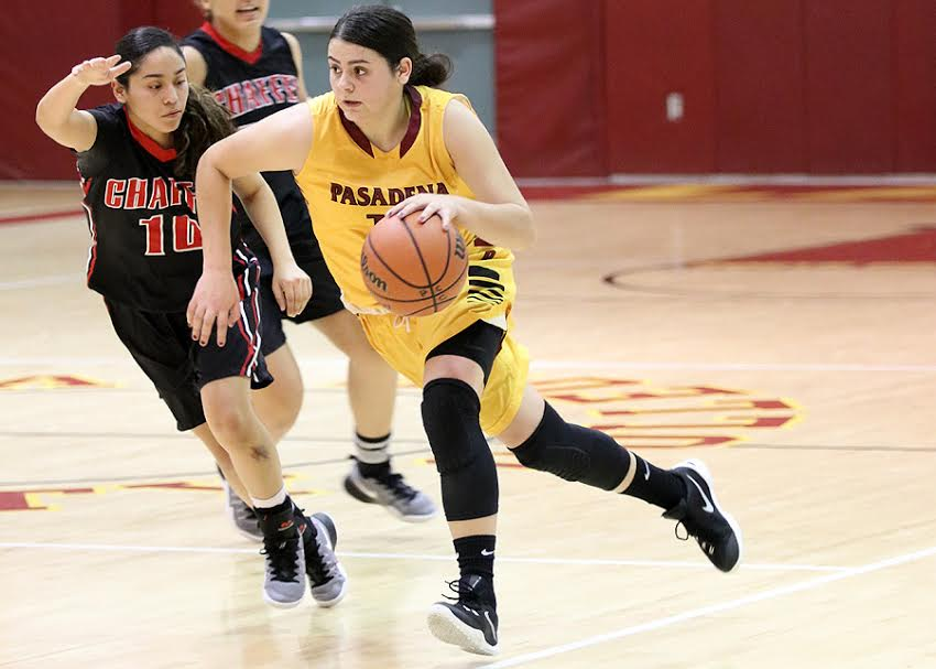 Ilianna Blanc drives to the basket during the Lancers win over Chaffey Wednesday, photo by Richard Quinton.