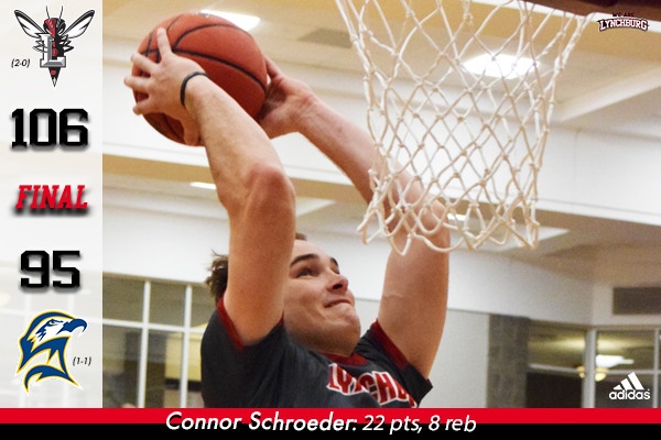Connor Schroeder dunks a basketball.