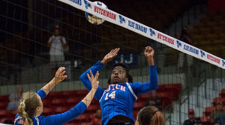 Tatyana Ndekwe had a big night with six blocks and five kills in a 3-0 Hutchinson sweep of Pratt on Wednesday in Pratt. (Allie Schweizer/Blue Dragon Sports Information)