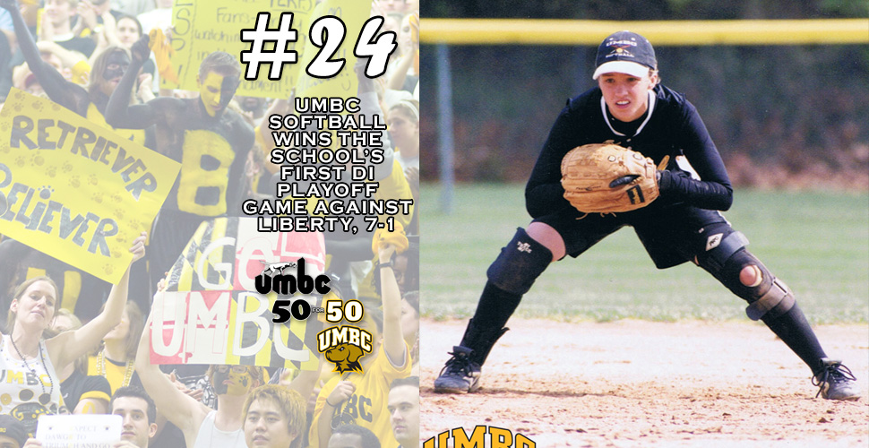 #retriever50for50 -  Softball Wins UMBC's First NCAA DI Playoff Game, Douses Liberty, 7-1