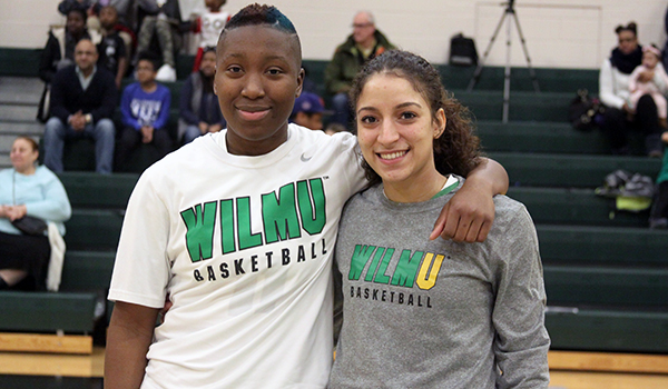 Copyright 2017; Wilmington University. All rights reserved. Photo of Wildcat seniors Jasmine Lee (L) and Jocelyn Rodriguez (R)