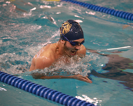 Gallaudet men's swim team sinks Hood on Senior Day, Bennett wins three events