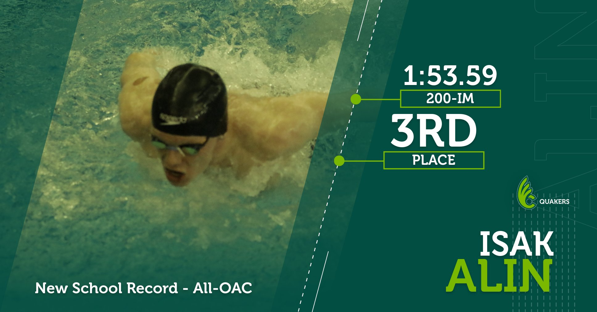 Alin's School Record in 200-Yard IM Leads to All-OAC Honors for Men's Swimming at OAC Championships