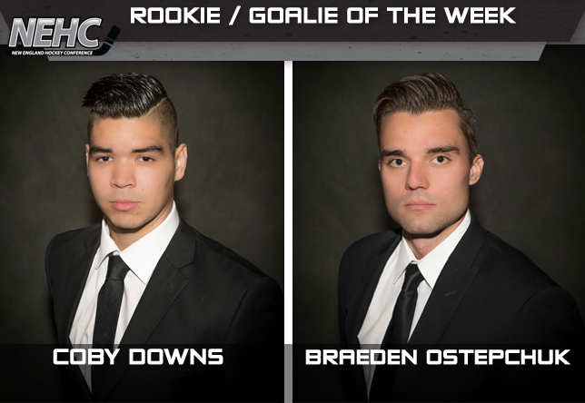 NEHC Rookie and Goalie of the Week, Coby Downs and Braeden Ostepchuk