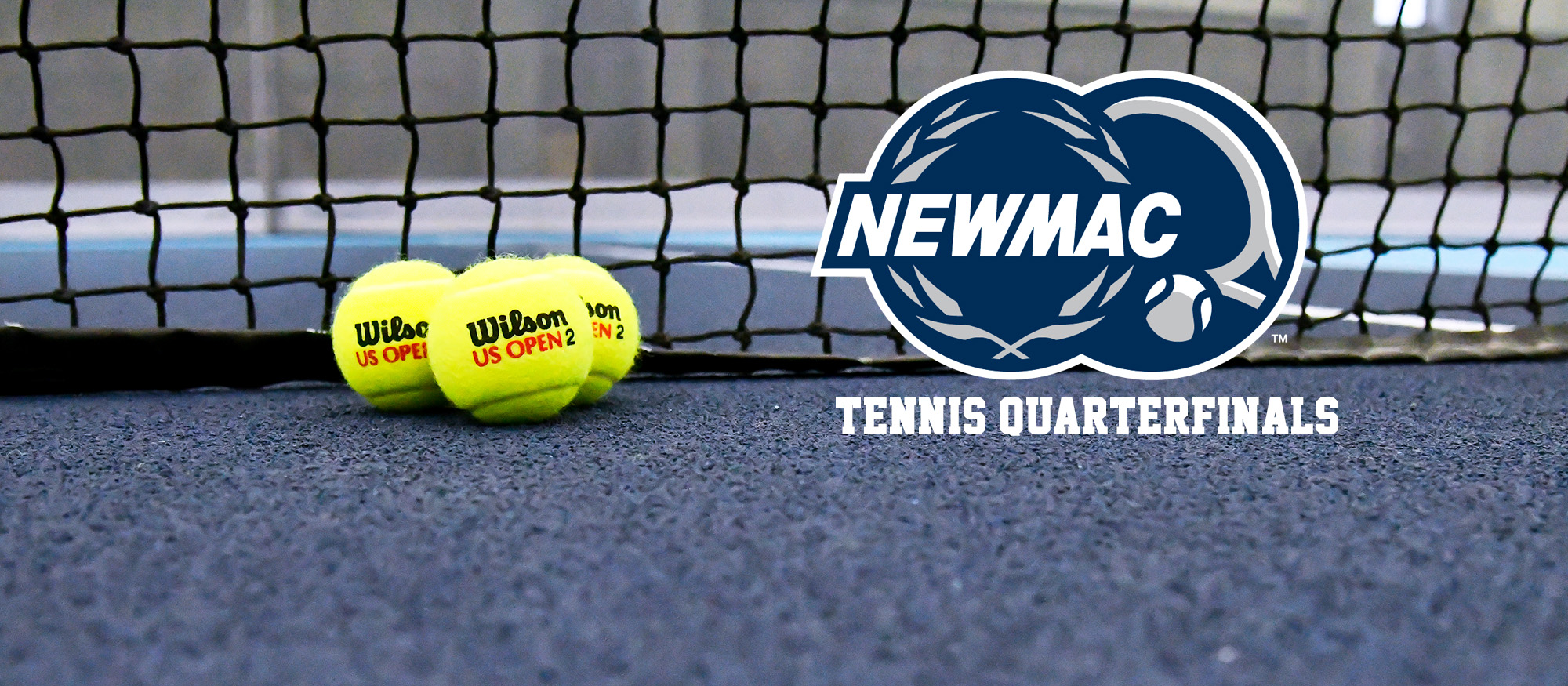 Graphic of a tennis court with a net and three balls. Also features the NEWMAC tennis logo.