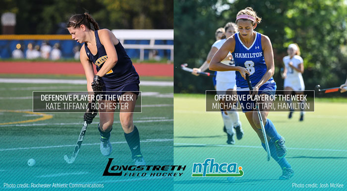 A photo of Kate Tiffany, Defensive Player of the Week, dribbling the ball in a dark blue uniform, next to a photo of Michaela Giuttari, Offensive Player of the Week, dribbling a ball in a blue uniform. The Longstreth and NFHCA logos appear at the bottom of the graphic over a blue gradient.