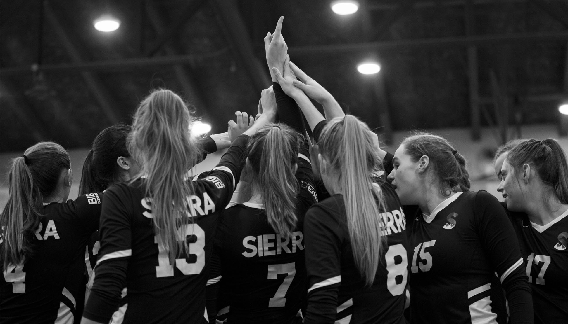 2019 Sierra College Volleyball after a timeout at the 2019 NorCal Finals at Cabrillo College on November 30, 2019.